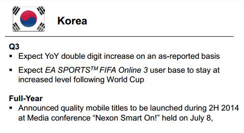 ▲넥슨코리아의 3분기 목표는 피파온라인 3의 유저 레벨을 월드컵 수준으로 유지하고, 2자리수 성장을 이어가는 것. 국내 온라인게임 회사들의 부진과 비교해보면 '피파온라인3'가 얼마나 복덩이인지 알 수 있다