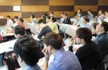 미래글로벌창업지원센터는 내달 8일 서울 상암동에 있는 누리꿈스퀘어 21층에서 릴레이 'B2G Mee-up' 세미나를 개최한다. 사진은 이달 센터에서 열린 세미나에 참석한 국내 스타트업 및 벤처기업 관계자들이 강사의 이야기에 귀를 기울이고 있는 모습.