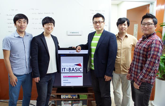 IT&Basic의 멤버들. 왼쪽부터 권용현 개발자(29), 이재균 개발자(30), 민경욱 대표(35), 강모희 일본지역담당(33), 이종헌 철학자(32). 인터뷰 자리에는 함께 하지 못한 김두현 개발이사, Raymond Lim 미국지역담당, 강호국 디자이너를 포함, 총 8명의 멤버로 팀이 구성되었다.