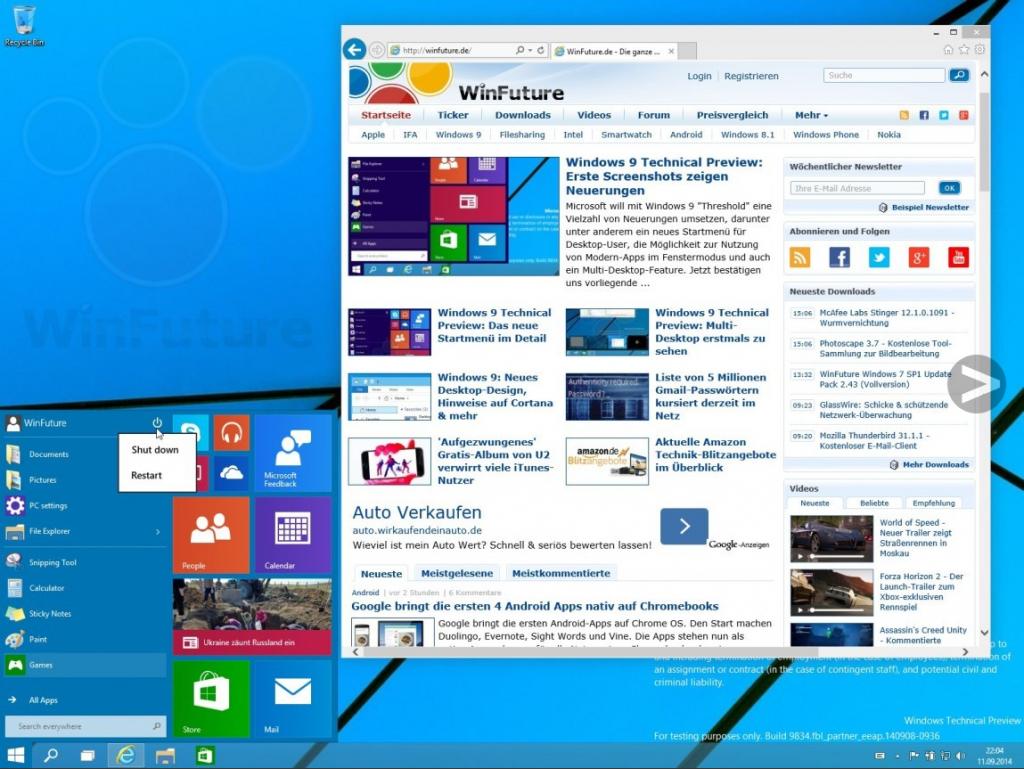 윈도9의 모습 (사진 출처 : winfuture.de)