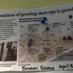 """마침 그런 제목의 기사가 CIC게시판에 붙어있길래 사진으로 찍어놨다. """"The business of growing startup is growing"""". CIC는 찰스강건너 보스턴시내에도 지점을 냈다."""