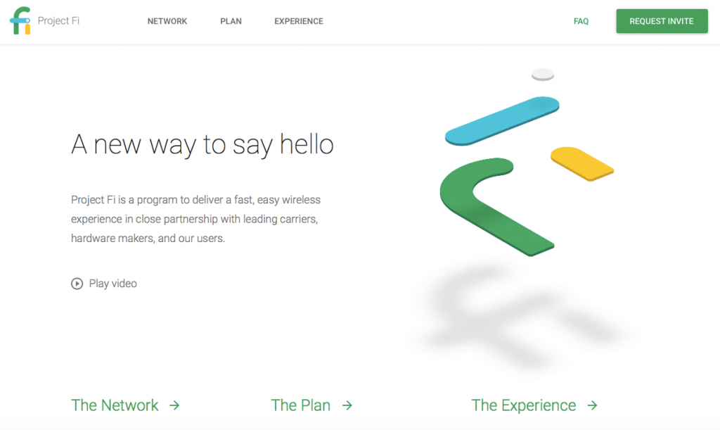Google Project Fi 홈페이지