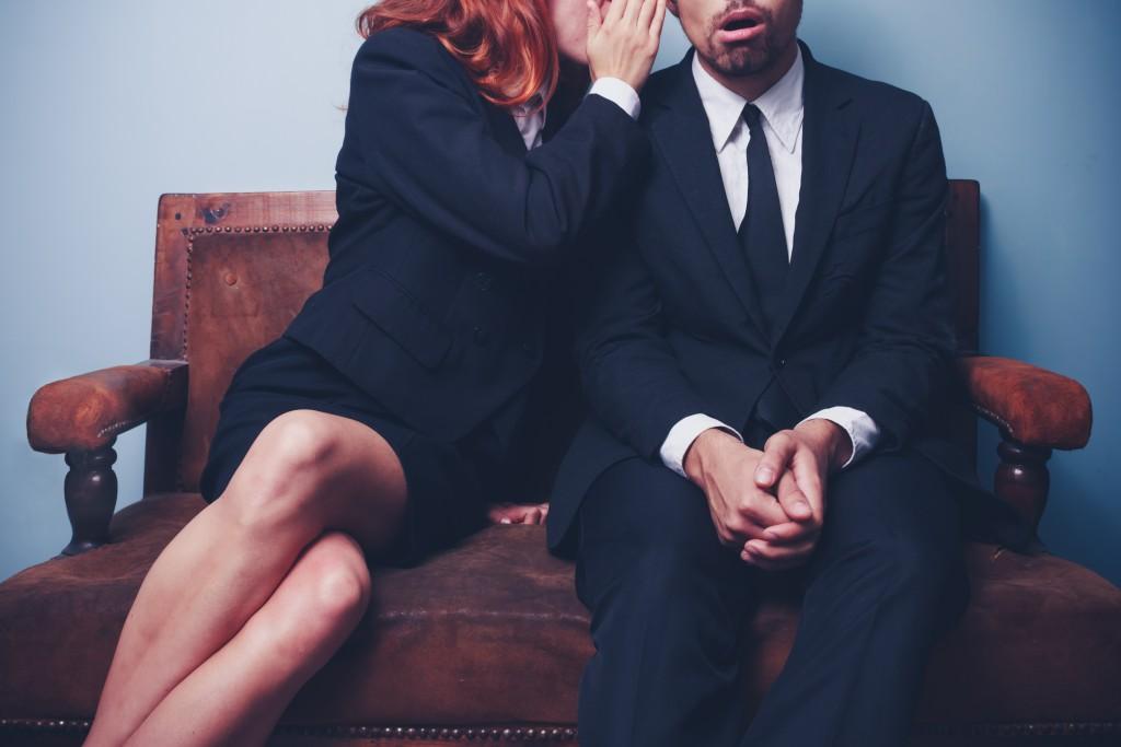 Gossip in the office lobby