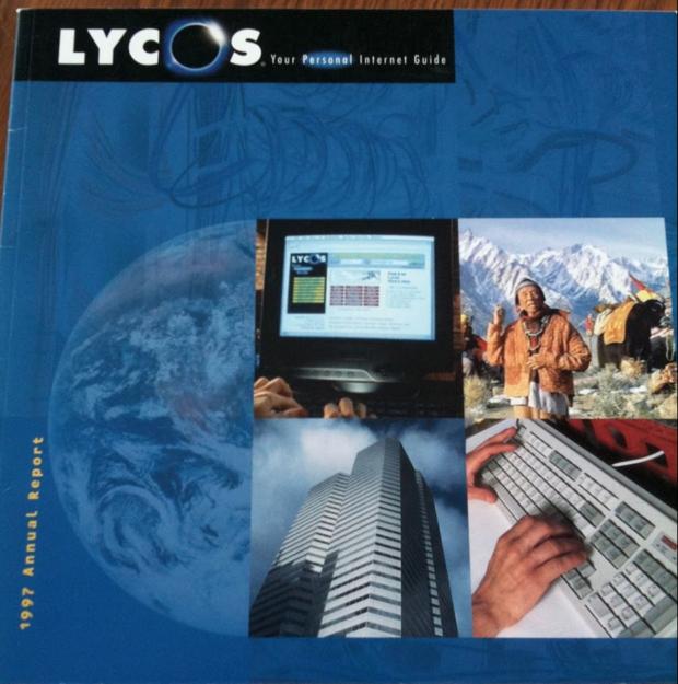 라이코스가 잘 나가던 97년도의 Annual Report표지. 넷스케이프와 비슷한 시기에 IPO를 하면서 닷컴붐의 선두주자였던 원조글로벌포털이었다.