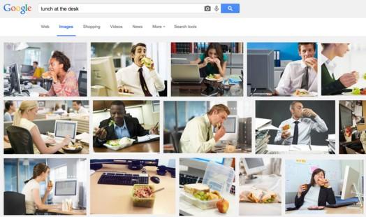 구글에서 검색을 해보니 이런 이미지들이 많이 나온다. 이것이 평균적인 미국직장인들이 점심을 먹는 모습이라고 해도 좋다.