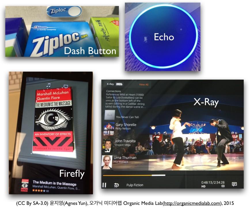 제품을 직접 구매, 검색, 소비할 수 있도록 도와주는 아마존의 대쉬 버튼, 파이어플라이, X-Ray, 에코. 이들은 어떤 연결을 만드는가?