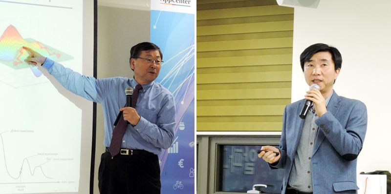 왼쪽부터 김진형 교수(카이스트 인공지능연구실 명예교수, 현 소프트웨어정책연구소장), 김석원 박사(소프트웨어정책연구소 책임연구원)