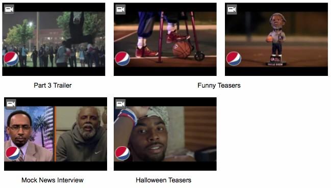 이미지를 클릭하시면 Pepsi의 유튜브 채널에서 영상들을 시청하실 수 있습니다