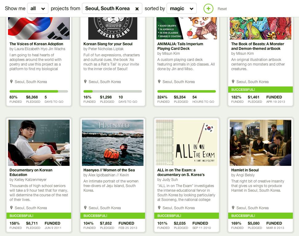정렬 방식은 매직! 킥스타터에 등록된 한국 관련 프로젝트들.
