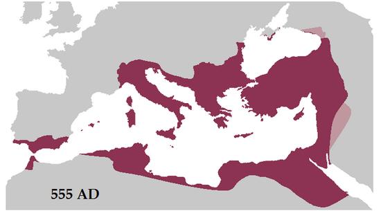 555년 동로마제국은 고대 로마 제국 전성기때의 영도를 거의 수복하기에 이릅니다(사진=위키피디아)