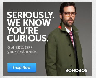 """보노보스(Bonobos)의 타게팅 광고: """"진짜로, 우리는 당신이 관심을 가지고 있다는 것을 압니다."""""""